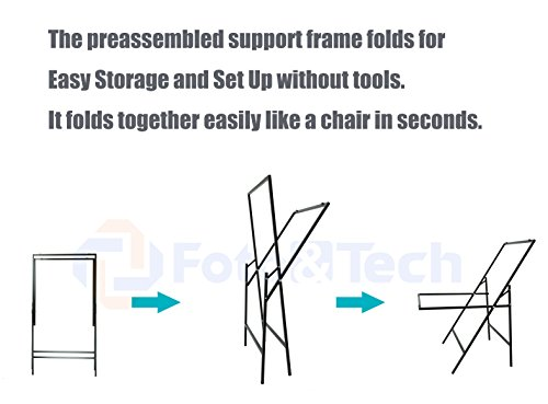 Foto&Tech Portable Non-Reflective Still Life Shooting Metal Frame Foldable Table with 58cm x 98cm Pure White Plexiglass Panel Cover Photo Studio Bench Easy Set Up without tools by Foto&Tech (Image #2)