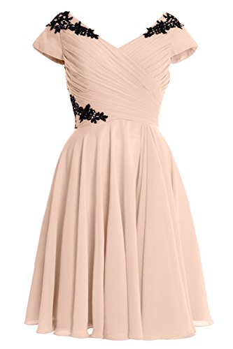 MACloth Elegant Cap Sleeve Short Mother of Bride Dress Cocktail Formal Gown Bellini