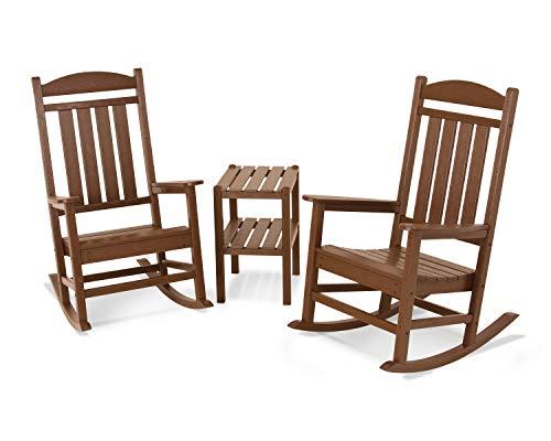 POLYWOOD Rocker Rocking Chair Set, Teak