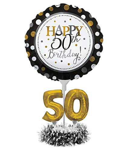 Happy 50th Birthday Balloon Centerpiece Black and Gold for Milestone Birthday