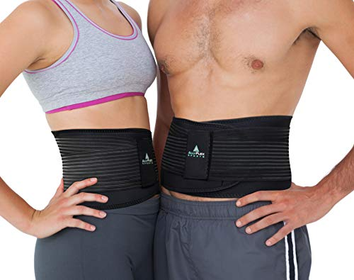 AllyFlex Lumbar Support Back Brace Lower Back Pain Support Belt for Women and Men Running Lifting - Medical Grade 3D Lumbar Support Cool Comfortable Fit (Medium)