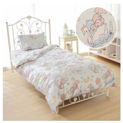 SANRIO Kikirara Little Twin Stars duvet cover, sheets, pillow case blue three-piece set (Pillowcase Sanrio)