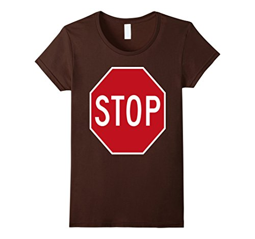 Road Cone Costume (Women's STOP road sign fancy dress funny costume tshirt Large Brown)