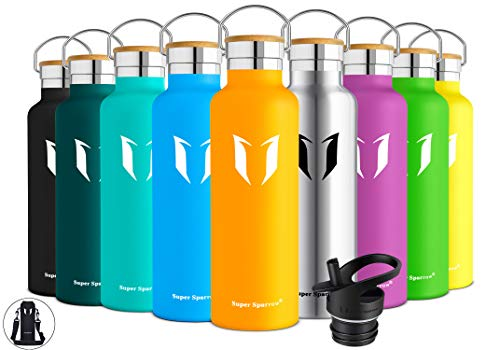 (Super Sparrow Stainless Steel Vacuum Insulated Water Bottle, Double Wall Design,Standard Mouth - 500ml & 750ml - BPA Free - with 2 Exchangeable Caps + Bottle Pouch (Mango, 500ml-17oz))
