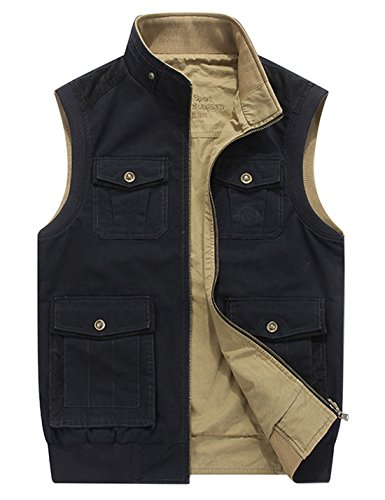Gihuo Men's Reversible Cotton Leisure Outdoor Pockets Fish Photo Journalist Vest (S, Black)