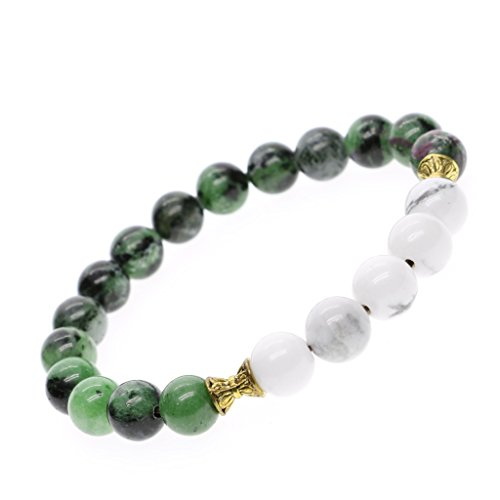 AmorWing Natural Ruby Zoisite Yoga Bead Wrist Mala Bracelet for Womens 8mm