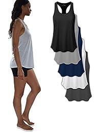 Sexy Basics - Conjunto de 5 Camisetas de Tirantes para Mujer, para Entrenamiento, para Uso Diario, con diseño de Flor