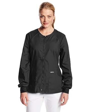 Cherokee Women's Scrubs Flexibles Zip-Front Warm-Up Jacket, Black, X-Small