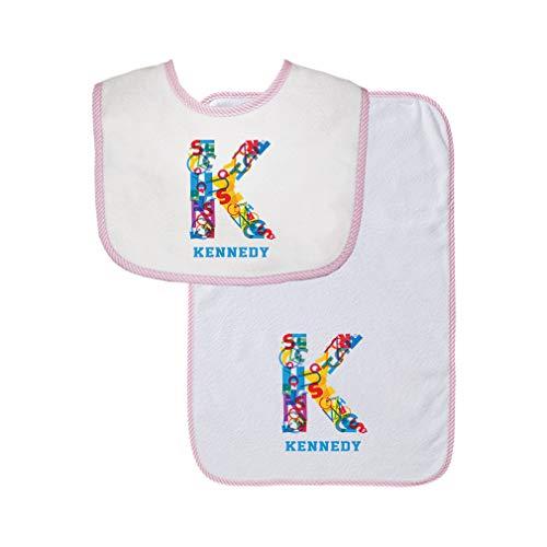 Personalized Custom Alphabet Letter Block K Decoration Cotton Boys-Girls Baby Bib & Burb Set Gingham Trim - Pink, One Size