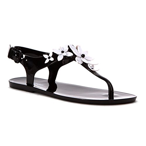 MICHAEL Michael Kors Women's Lola Jelly Thong Sandals, Black/Optic White, 8 B(M) - Black Michael And White Kors