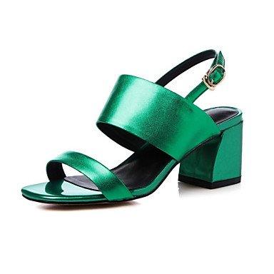 LvYuan zapatos del club de las sandalias del verano del resorte de las mujeres del partido piel de vaca&vestido de noche Green