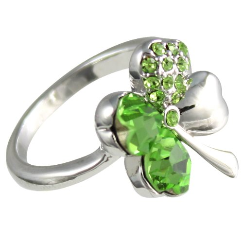 Four Leaf Clover Heart Shaped Swarovski Elements Crystal Rhodium Plated Ring (Green) - Size 7