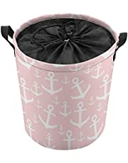 Nautical Blush Pink & White Anchor Laundry Baskets, Collapsible Hamper Storage with Handle, Oxford Cloth Laundry Hamper,for Toy Organizer Bins,Gift Baskets, Bedroom, Clothes, Nursery,Kids,Boys