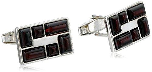 Men's Sterling Silver Cherry Amber Rectangular Multi-Stone Cuff Links