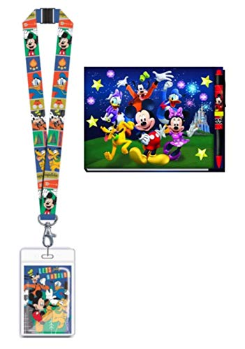 Disney Mickey Mouse and Friends Autograph Book with Pen and Lanyard with ID Card Holder for (Best Disney Friend Memory Books)
