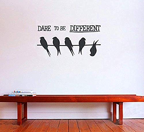 Quotes Dare Be Different English Quotes Viny LART Birds On Wire Home Ative Mural Wall Decals Mural Decor Vinyl Sticker SK6319