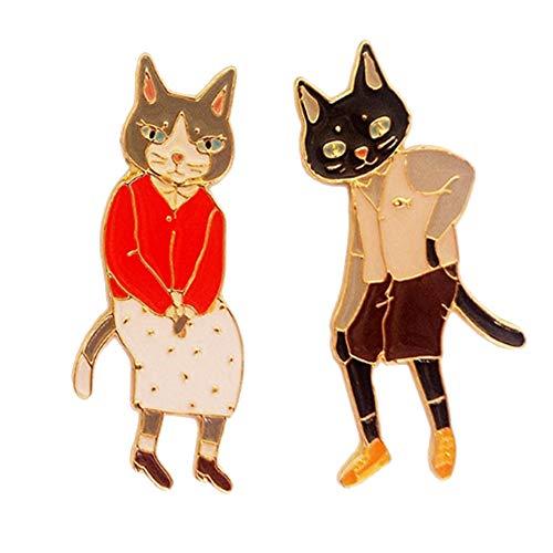 S-WAY 2 pcs Lovely Cute Cat Lovers Cartoon Brooch Jewelry for Girls Women Children (M-Cat)