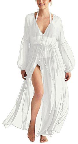 KingsCat Women's Long Beach Dress Cardigan Tops w/Swimsuit Cover-up, White