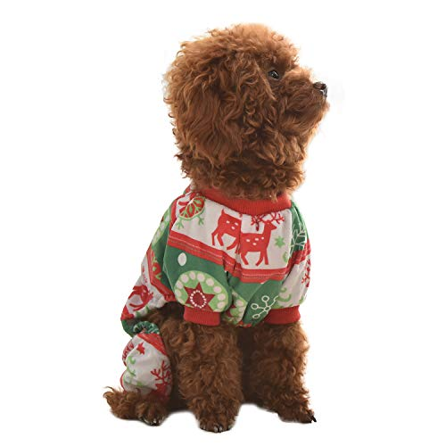 CuteBone Halloween Dog Jumpsuit Shirt Winter Holiday Cute Pjs Christmas Pet Clothes Bodysuit for Doggie Onesies