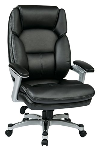 Office Star Bonded Leather Seat and Back Contour Executive Chair with Adjustable Arms and Silver Coated Accents, Black