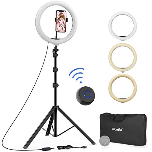 """WONEW 12"""" Selfie Ring Light with Tripod Stand, Flexible Phone Holder, Bluebooth Remote Control and Carry Bag for Live Stream/Makeup/YouTube Video/Photography, Compatible with iPhone Xs Max XR Android"""