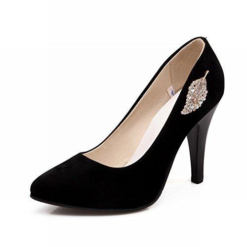 Carolbar Fashion Womens Sexy Shiny Leaf-shaped Rhinestone Cuff High Stiletto Heel Dress Pump Shoes Black sTYls