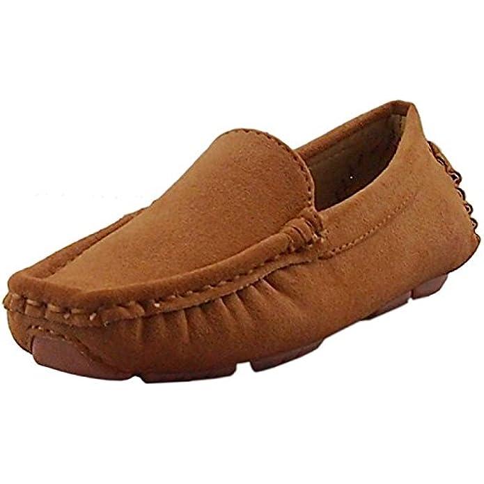 DADAWEN Girl's Boy's Soft Suede Leather Slip-on Oxford Flats Comfort Loafer Boat Dress Shoes