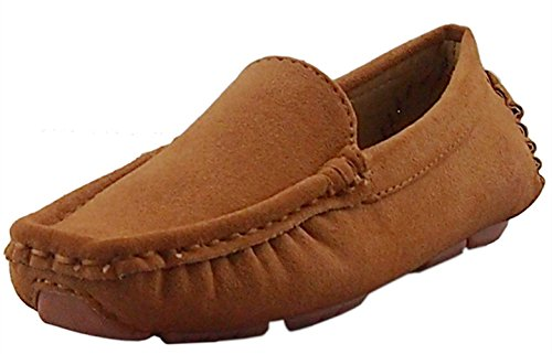 Image of DADAWEN Girl's Boy's Suede Slip-on Loafers Oxford Shoes