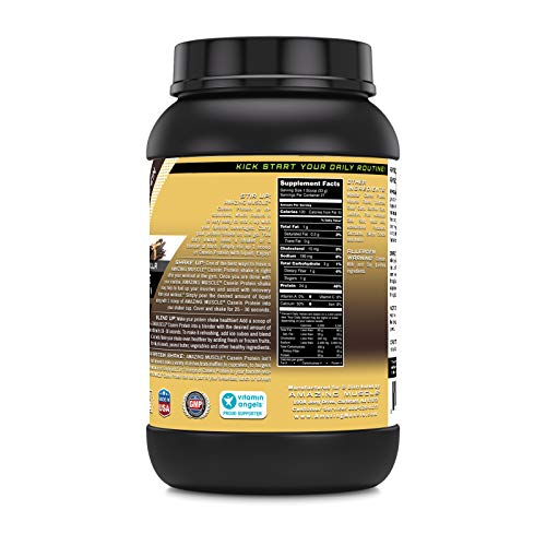Amazing Muscle Casein Protein Vanilla 2 Lb - Promotes Lean Muscle Gain - May Benefit The Immune System - Supports Swift Muscle Recovery