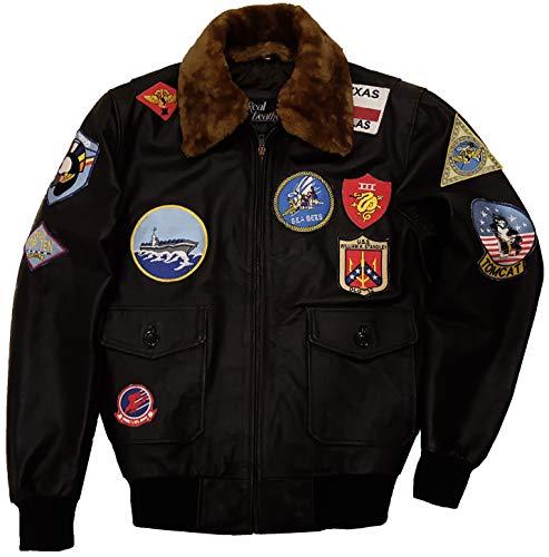 Top Gun Jacket - Maverick Costume Tom Cruise Top Gun Bomber Jacket - Flight Suit (Black - A-2 Aviator Leather Jacket, M/Body Chest 40
