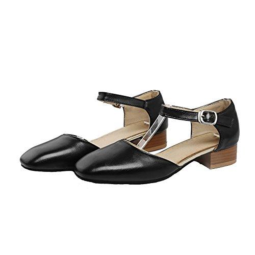 Chaussures Shoes Buckle PU Femmes AgeeMi Bas Talon à Légeres Noir EuD56 aux 8tqwxgd