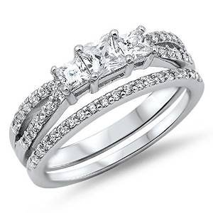 Princess Cut Cubic Zirconia Bridal Engagement Set .925 Sterling Silver Ring Size 12