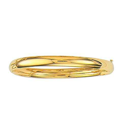 10K Yellow Gold Shiny Hinged Bangle Bracelet 5Mm, 4 Grams, 7 (9 Ct Gold Bangles)