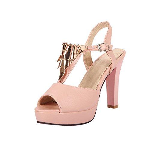 Mee Shoes Damen hocher Absatz Slingback Peep toe Sandalen Pink