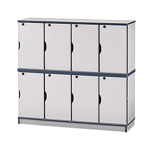 4-Section Stacking Lockable Lockers Trim Color: Red, Size: Double Stack ()