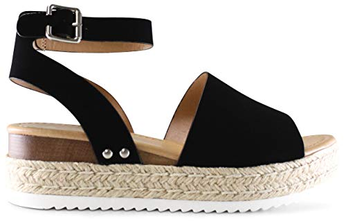 AFFORDABLE FOOTWEAR Women's Open Toe Ankle Strap Espadrille Wedge Sandal - (Black NBPU) - 6.5