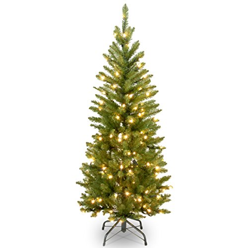 National Tree 4.5 Foot Kingswood Fir Pencil Tree with 150 Clear Lights -