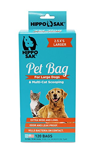 Hippo Sak Extra Large Pet Poop Bags for Large Dogs and Cat Litter, 120 Count (Larger Cats)