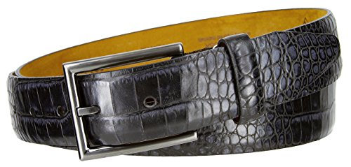 Lejon 16211 Men's Alligator Embossed Italian Calfskin Leather Belt MADE IN USA 1 1/8