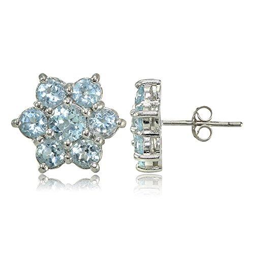 Blue Topaz Flower (Sterling Silver Genuine Blue Topaz Flower Stud Earrings)