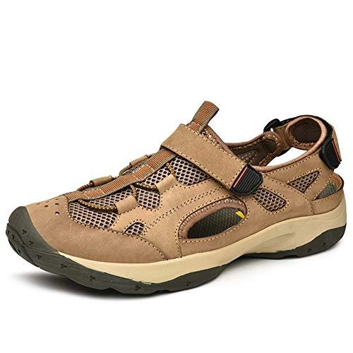 Kaki 46 EU EGS-chaussures Sandales pour Hommes en Plein Air Slip sur Chaussures d'eau Ox en Cuir Crochet & Boucle Sangle Sports De Plein Air Creuss Couture Sandales Flexibles Chaussures de Cricket