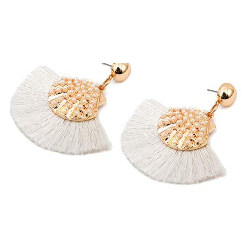 Gahrchian Women Earrings Pearl Tassel Boho Shell Pendant Earrings Stud Charm Gift for Friends Sister Jewelry (White)