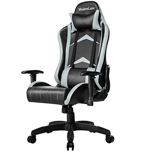 Modern Luxe Racing Style PU Leather Office Chair Swivel Computer Gaming Chair Executive Reclining Chair (Grey) Modern Luxe