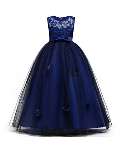 Girl Dresses Size 14/16 Sleeveless A-Line Ruffle Formal Christmas Special Occasion Bridesmaid Dress Girls Party Prom Sundress Tutu Tulle Gowns Big Girl Dresses Size 7-16 (12-16 Years Navy 170)