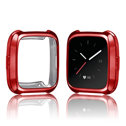 FitTurn Case Compatible with Fitbit Versa Case TPU Protective Case Fashion Color Frame Shock Resistant Proof and Shatter-Resistant Cover Protector Shell for Fitbit Versa Smart Watch