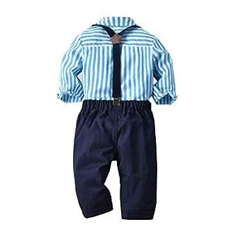 Lazzboy Ropa para niños niño Caballero Pajarita Color sólido Camiseta Top + Color sólido Babero Traje Ropa