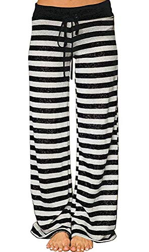 Elsofer Striped Comfy Pajamas for Women Wide Leg Stretch Soft Cute Summer Palazzo Joggers Beach Pj Pjs Pajama Lounge Pants (Tag XXL (US 12), Black ()
