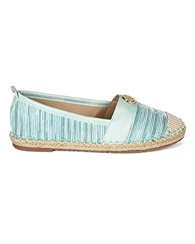 Beach Women Ballet Green Trim Leatherette CJ11 Espadrille Liliana On Fabric Flat Slip a68dUqS0w