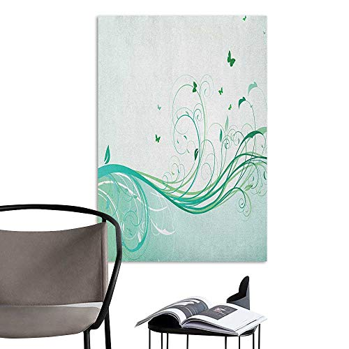 Jaydevn 3D Murals Stickers Wall Decals Turquoise Illustration Floral Victorian Style Curvy Lines Wave Butterfly Design Mint Green Pale Green Restaurant Wall W20 x H28