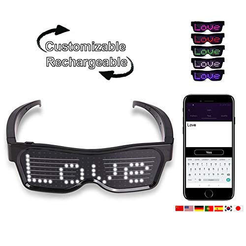 TECZERO - Customizable Bluetooth LED Light up Glasses, USB Rechargeable with Wireless Flashing LED Display, Glow Eyeglasses for Festivals Raves Parties - Display Messages Animation Drawings (White)]()